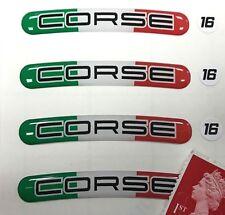 """4 X Pegatinas Llanta Corse (italiano) para adaptarse a 16"""" ruedas super acabado brillante abovedado"""