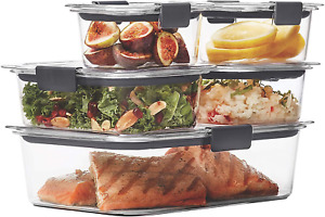 Rubbermaid 10 Piece Set Rubbermaid Brilliance 100% Leak Proof Storage, Clear