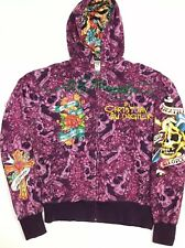 """Ed Hardy By Christian Audigier """"Death Or Glory"""" Zip Front Hoodie Purple Rare"""