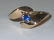 Vintage Sterling 14K Gold Natural Sapphire Solitare Friends Promise Ring SZ 6