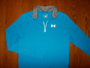 UNDER ARMOUR 1/2 ZIP LONG SLEEVE BLUE REFLECTIVE RUNNING SHIRT MENS SMALL EXCELL