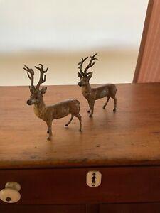 Vintage Set Hand Painted Miniature Metal Deer / Reindeer Putz Figures ~ Germany