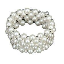 Wedding Bridal White Faux Pearl 5 Rows Stretch Elastic Bangle Bracelet