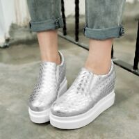 Womens Hidden Wedge Heels Platform Round Toe Loafers Creepers Slip On Shoes Size