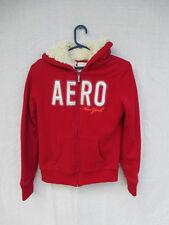 Jacket Hoodie Aeropostale Red Knit Fleece Lining Size M Zipper Front Pocket