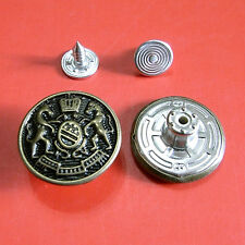 10 NO-SEW Metal Brass Jean Tack Snap Jacket Military Soldier Buttons 20mm G194
