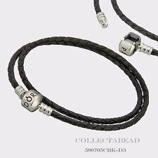 "Pandora Sterling Silver Double Black Leather 16.1"" Bracelet 590705CBK-D3 LAST 1"