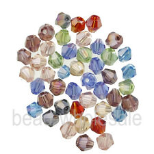 100pcs Glass Crystal Charm Faceted Bicone Spacer Loose Beads 4*3mm 10 AB Colors