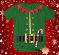 Elf shirt Christmas mens 2XL tshirt green ugly sweater costume new funny Bx5