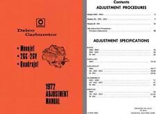 Delco Carburetor 1972 - Delco 1972 Adjustment Manual (Monojet, 2GC - 2GV, Quadra