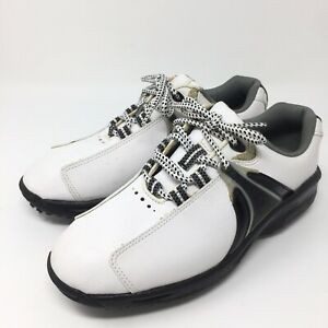 Footjoy Junior Kids Golf Shoes Size 4 M Black White Lace Up Soft Spikes