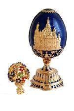 Copie oeuf Fabergé bleu avec des  fleurs