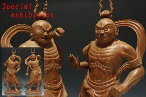 Japan antiques Edo 2 Deva kings Buddhist statue Noh Temple Samurai yoroi Busho