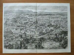 IZ72c) Holzstich Wien Vogelschau 1872 Ringstraße Palais Straßen Österreich 54x40