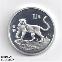 Silber PP China 10 Yuan 1992 Schneeleopard - Silver proof Snow Leopard