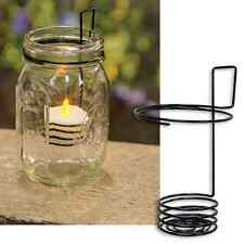 Mason Jar Black Metal Wire Tealight Holder  Primitive Country Rustic Candle