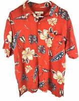 Paradise Blue Mens Shirt Medium Collared Short Sleeve Button Red Leaf Hawaiian