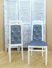 2x Esszimmerstühle Esszimmerstuhl Stuhl Stühle Buche Massiv Farbe: Weiß/Eisblau