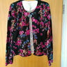KATE HILL100% merino wool black floral print knit cardigan SIZE L UK 12-14 NEW