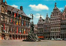 Brabo & Corporation Houses Antwerp Belgium old cars Postcard