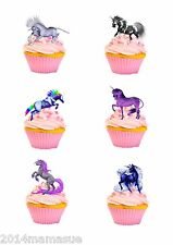 30 PRECUT UNICORN MYSTICAL HORSE STAND UP CUPCAKE CAKE WAFER RICE CARD TOPPERS