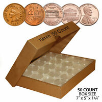 50 PENNY Direct-Fit Airtight 19mm Coin Capsule Holder PENNIES (QTY: 50) with BOX