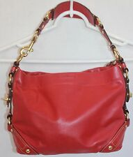 Coach Carly Red Leather Satchel Hobo Handbag Shoulder Bag Purse 10615