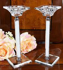 Paire de cristal cut candle stick support swarovski elements avec boîte cadeau