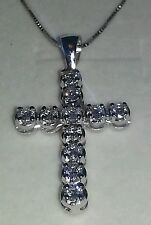 collier Croce ciondolo pendente catenina oro 18 kt e diamanti NATURALI 1,11 ct