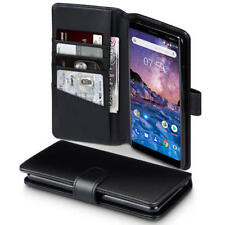 Luxury Real Leather Wallet Case for Nokia 7 Plus - Black