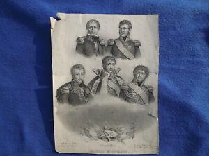 STAMPA ANTICA NAPOLEONICA NAPOLEONE I GENERALI MILITARI IN DIVISA 1835 WATERLOO