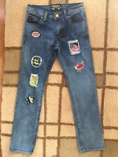 Thrill Girls Blue Patches American Flag Heart Skinny Jeans Size 6 Distressed