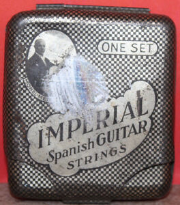Imperial Spanish Guitar Strings One Set Vintage Empty Tin Case Made in Germany