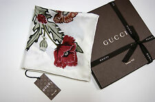 New Authentic GUCCI Iconic Flora Knight Ivory Multicolor Silk Twill Scarf