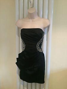 JANE NORMAN Stunning Black Satin Strapless Bustier Cut Out Jewel Dress Size 10