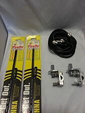 NEW CB RADIO 2 FIRESTIK FL4 4FT CB ANTENNAS, 12FT DUAL COAX, BRACKETS & STUDS