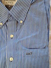 Abercrombie & Fitch Classic Muscle Fit Long Sleeve Shirt L Blue Pin Striped