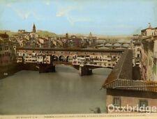Florence Italy Ponte Vecchio Old Bridge 1880 Original Color Photograph Bazaar