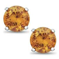 Solid Sterling Silver 2 TCW Genuine Citrine Stud Earrings ~ November Birthstone