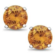 Solid Sterling Silver 2 TCW Genuine Citrine Stud Earrings November Birthstone