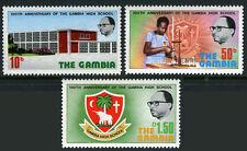 Gambia 325-327, MNH. Gambia High School, centenary. Pupil, Emblem, 1975