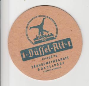 Düssel-Alt, Braugemeinschaft Düsseldorf, alter Bierdeckel mit Radschläger