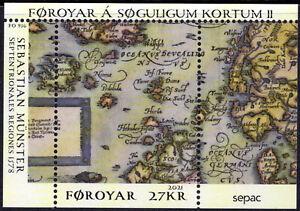 NEW ISSUE BELOW FACE 2021 Faroe Islands Foroyar Historical Map Souvenir Sheet