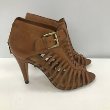 Clarks Shoes Ladies UK 8 Brown Leather Strappy Peep Toe Zipper 292019