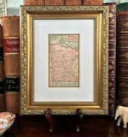 Framed Original 1886 Antique Map MINNESOTA Rochester Duluth Ramsey Winona Waseca