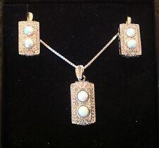 Sterling Silver Deco Gilson Opal & CZ sparkling Pendant Necklace & Earrings Set
