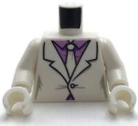 LEGO Minifigure Torso Suit Medium Lavender Shirt White Tie Pattern White arm DC