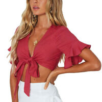 Women Fashion Casual Tank Crop Bow Tops Solid Vest Blouse Flare Sleeve T-Shirt