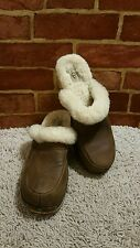 UGG Australia Kalie Clog Brown Leather/Suede Mule 5425 Sz 10 1797
