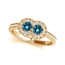 1.30 Cts Blue VS2-SI1 2 Stone Diamond Solitaire Engagement Ring 14k Yellow Gold